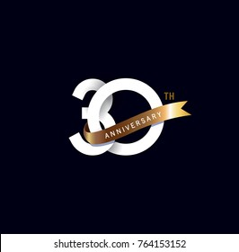 30 anniversary logo with gold ribbon. template design for web, game ,Creative poster, booklet, leaflet, flyer, magazine, invitation card