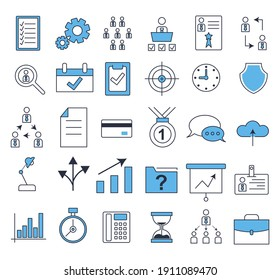 30 business icons set. Icons for business, management, finance, strategy, marketing. Flat style vector illustration.