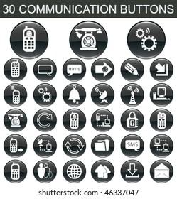 30 Communication Black Buttons Set