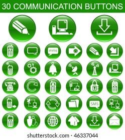 30 Communication Green Buttons Set