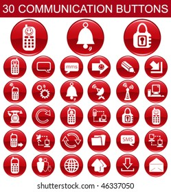 30 Communication Red Buttons Set