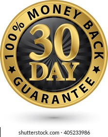 30 day 100% money back guarantee golden sign, vector illustration