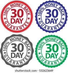 30 day 100% money back guarantee sign set, vector illustration