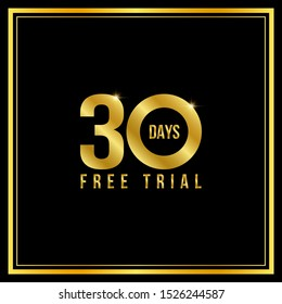 30 day free trial Golden text, vector illustration.