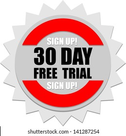 30 Day, Free Trial, icon vector