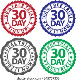 30 day free trial sign set, vector illustration