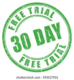 30 day free trial vector rubber stamp vector on white background. Flat web design element for website or app.