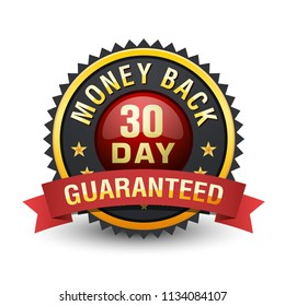 30 Day money back guarantee badge with red ribbon on white background.