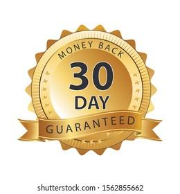 30 Day money back guarantee heavy metallic badge on white background