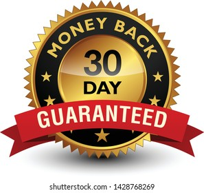 30 Day money back guaranteed golden seal, stamp, badge, stamp, sign, label with red ribbon isolated on white background.