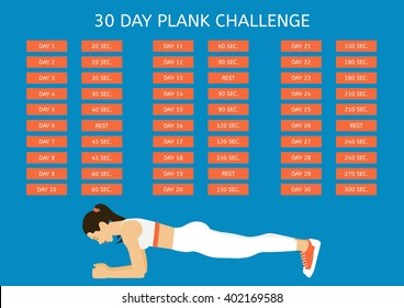 "30 day plank challenge. Young woman performing an exercise, ""Plank"""