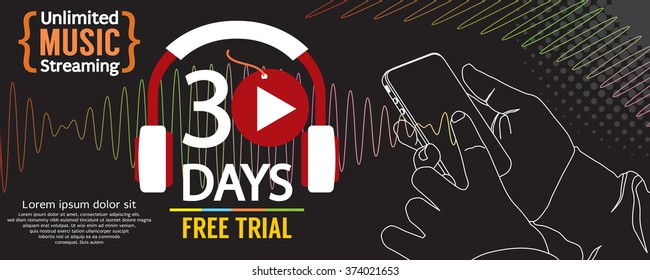 30 Days Free Trial 1500x600 Banner Vector Illustration