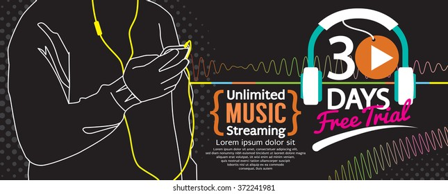 30 Days Free Trial Music Streaming 1500x600 Banner Vector Illustration