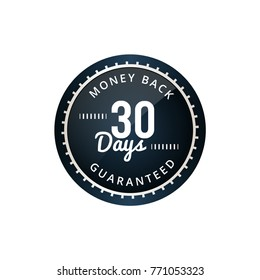30 days label clear with glossy on white background