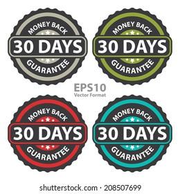 30 Days Money Back Guarantee on Vintage, Retro Sticker, Badge, Icon, Stamp Isolated on White, Vector Format