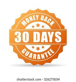 30 days money back guarantee icon on white background