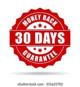 30 days money back guarantee icon isolated on transparent background