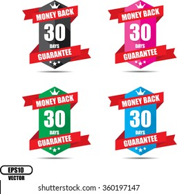 30 days money back guarantee Promotional Sale Colorful Sign, Seal Graphic With Red Ribbons. A Specified Period Of Time.