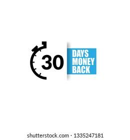 30 days money back sign. modern sticker,label,banner.