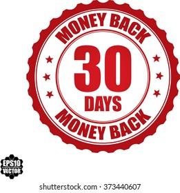 30 days money back stamp.Vector.