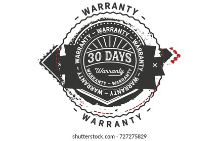 30 days warranty icon vintage rubber stamp guarantee