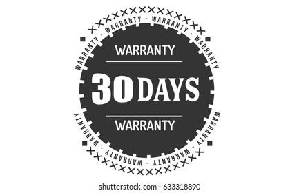30 days warranty. stamp. vintage warranty