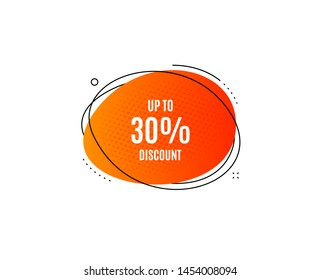 Up to 30% Discount. Banner badge, offer sticker. Sale offer price sign. Special offer symbol. Save 30 percentages. Discount tag banner. Sticker badge. Vector