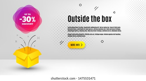 Up to 30% discount off badge. Abstract background. Sale banner shape. Coupon label icon. Outside the box concept. Banner with offer badge. Vector