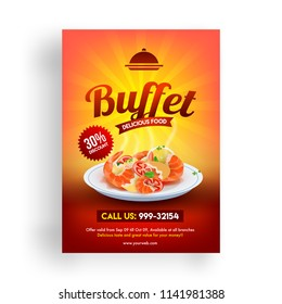 30% discount offer flyer of Buffet Delicious food template design for restaurants.