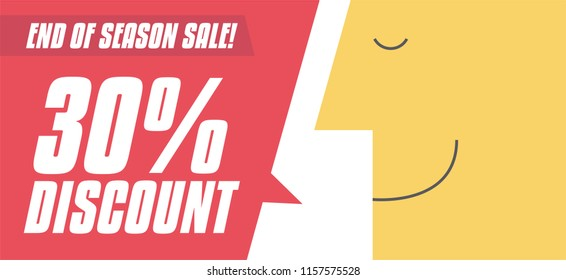 30% discount Sale sign with chat bubble vector illustration. Man saying 30% OFF. Business and Digital marketing concept for website and banners promotions.