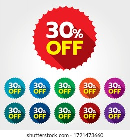 30% discount sticker. 30% off sale multi-color tag isolated vector illustration. Discount price label. Symbol for advertising campaign in retail. 30% discount sale promo.