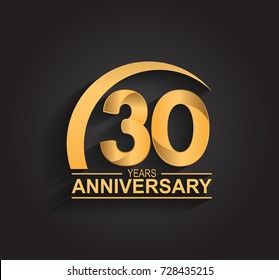 30 ears anniversary celebration. Anniversary logo with swoosh and elegance golden color isolated on black background, vector design for celebration, invitation card, and greeting card