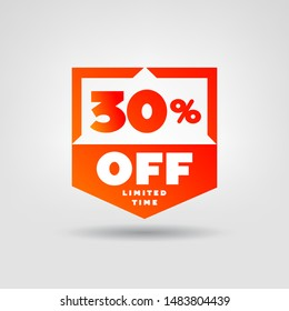 30% E-Commerce Price Tag. Online Shopping Discount 30% OFF Vector Label. 30% Sale Illustration.