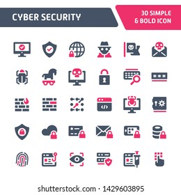 30 Editable vector icons related to cyber & internet security. Symbols such as mobile, cloud & computer security are included in this set. Still looks perfect in small size.