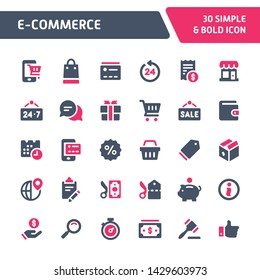 30 Editable vector icons related to website store & e-commerce. Symbols such as store object, payment method and shipping are included in this set. Still looks perfect in small size.