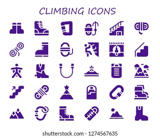 30 filled climbing icons. Simple modern icons about  - Boots, Carabiner, Rope, Stairs, Climbing, Bungee jumping, Wingsuit, Mountain, Sleeping bag, Mountains