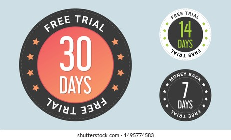 30 Free Trial stamp vector illustration.  Free trial badges. 7, 14 and 30-day stickers. Vector certificate icon. Vector combination for certificate in flat style.
