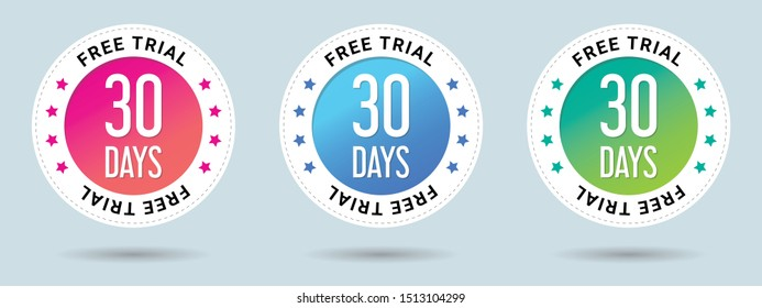 30 Free Trial stamp vector illustration.  Free trial badges. Vector certificate icon. Vector combination for certificate in flat style. Set of 3 beautiful color gradients.