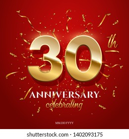 30 golden numbers and Anniversary Celebrating text with golden serpentine and confetti on red background. Vector thirtieth anniversary celebration event square template