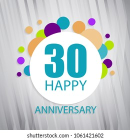 30 happy aniversary typography vector