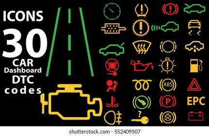 30 Icons car vector illustration EPS 10. Dashboard panel indicators. Pictogram DTC code error.