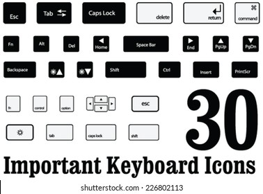 30 important Computer key board keys and buttons of mac and windows in Vector