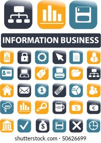 30 information business buttons. vector