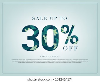 30% lettering handmade with leaves and flower tropical decoration. For Sale discount, Web Promotion, Poster Banner Background, Sign and symbol. Luxury unique style, Green color, Vector illustration