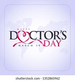 30 Mart Dünya Doktorlar Günü. Translation: March 30,  World Doctor's Day. concept greeting card, National Doctors Day Template calligraphy, vector, illustration.