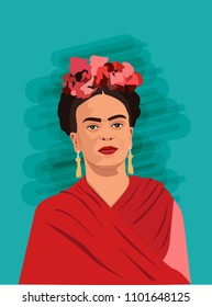 30 May, Mexico, Frida Kahlo ,  portrait of modern Mexican woman , Artist ,vector illustration