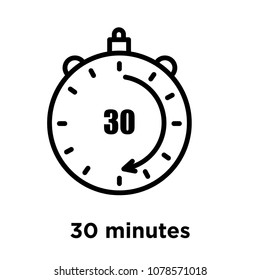 30 minutes icon isolated on white background, vector illustration