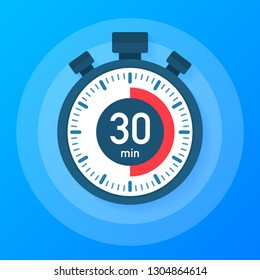 The 30 minutes, stopwatch vector icon. Stopwatch icon in flat style, 30 minutes timer on on color background.  Vector stock illustration.