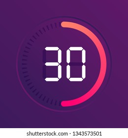 The 30 minutes, stopwatch vector icon, digital timer. Vector digital count down circle board with circle time pie diagram. Watch outline style design, designed for web and app.