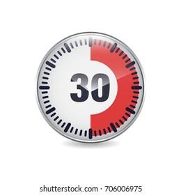 30 minutes time break circular button icon for web. vector illustration
